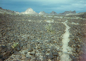 A narrow path of white gravel winds its way through an immense field of brown rock, towards distant mountains.