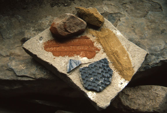 Minerals used for paint. The minerals make blue, orange, and yellow.