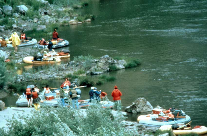 A large group of brightly colored rafts pulled up along the side of a river.