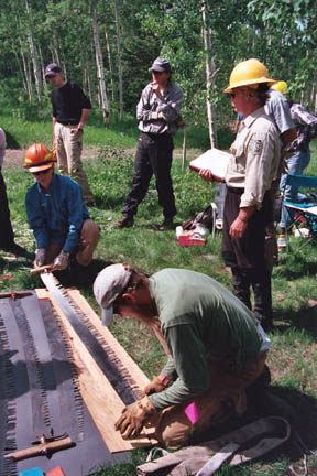 A group of agency staff sharpening a large set of hand saws.
