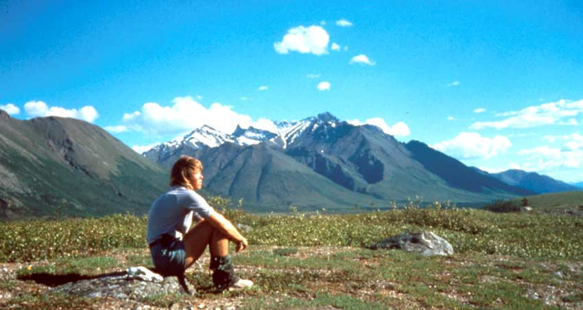 A lone person sitting in an alpine valley, looking out over the tall snowcapped peaks in the distance.