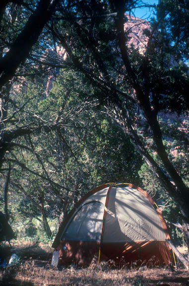 Campsite at LaVerkin Creek, Zion National Park. The camp consists of a dome tent and a water bottle. An example of at-large camping.
