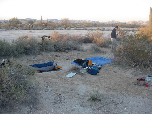 Backpackers set up camp in a wash just before they reach the Cabeza Prieta Mountain range.