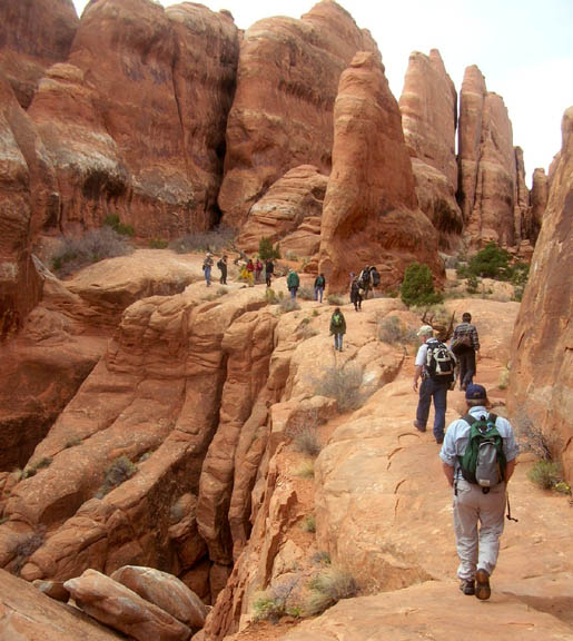 Many hikers trek up a trail on a red rock edifice.