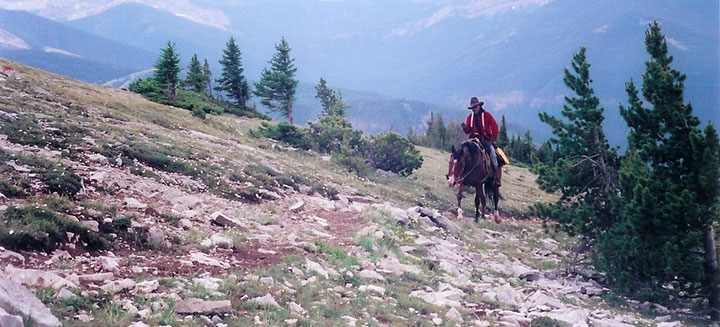 A horse and rider traverse a rocky trail