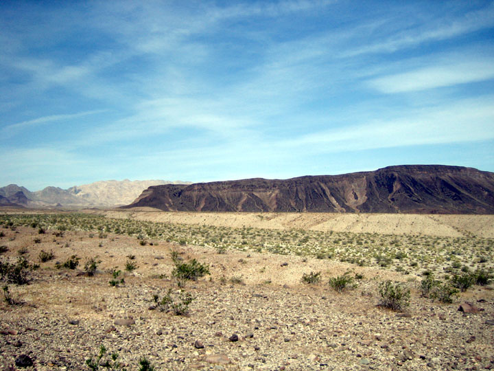 An arid desert landscape freckled with small green bushes. The dark mass of Mt. Opal rises towards the sky in the background.