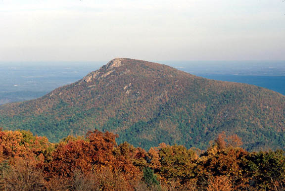 Old Rag Mountain in autumn. The mountain is carpeted in green, red, and yellowing trees and the horizon and the sky blend together in the background.