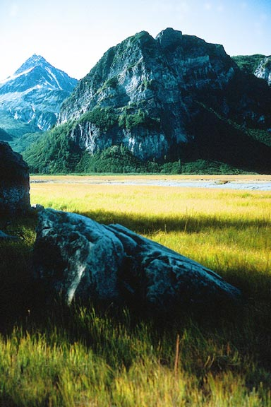 A large boulder sitting in an open meadow, massive rocky faces rising in the distance, striped with lush green growth.