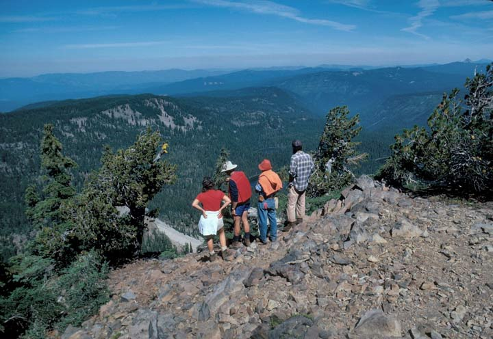 A small group of hikers standing on the edge of a rocky face, looking down over the large expanse of a massive forested valley below.