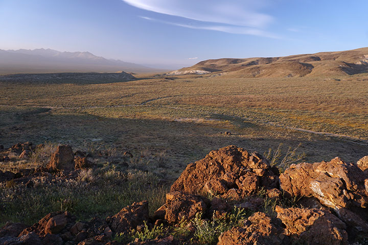 Desert hills in the background with rocks and short vegetation in the foreground