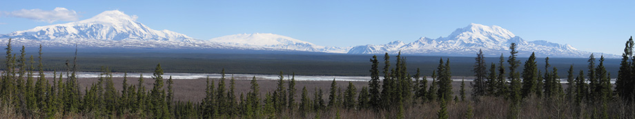 A panorama of three massive ice covered peaks in the distance, beyond a large river valley and forest trees in the foreground.