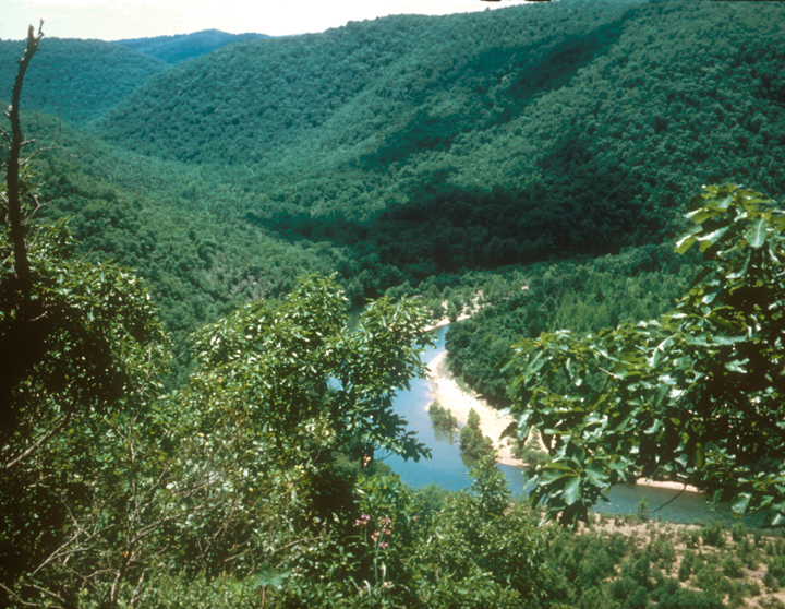 A river winds through a forested valley.