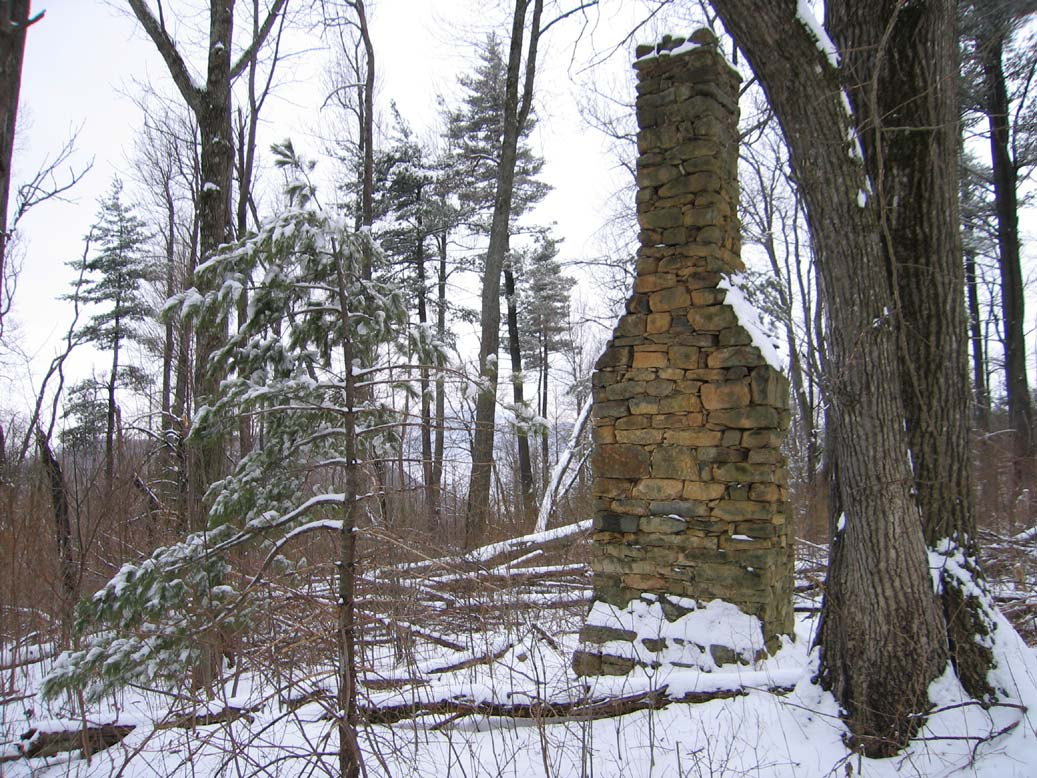 A tall stone chimney standing in the middle of a snow-covered forest.