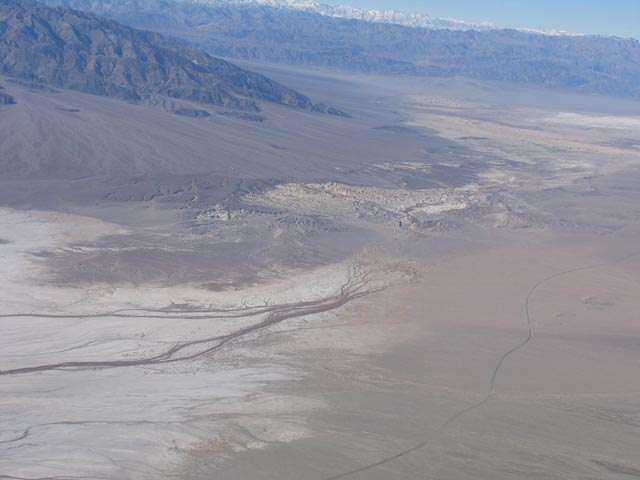 An aerial shot of the desert area of the Death Valley Wildness.