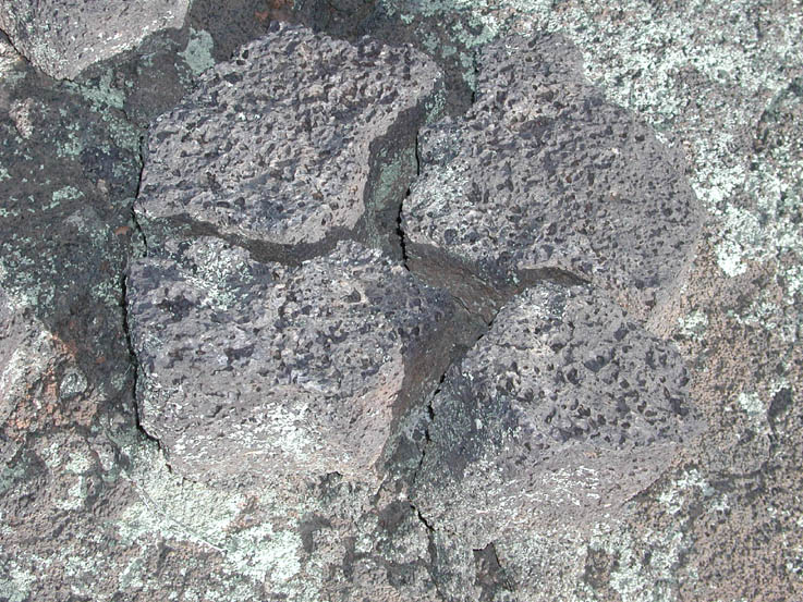 A close-up of a fractured gray lava rock.