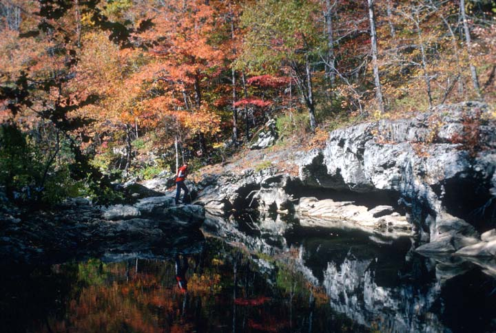 A single hiker in a red shirt stands dwarfed beneath orange forest foliage above, reflecting off the mirror surface of a small pond.