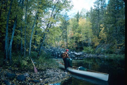 A man standing next to a white canoe along the shore of a small bay, surrounded by forest trees.