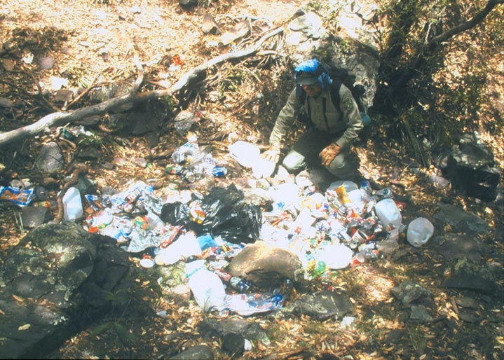 A man kneeling next to a large trash pile, in the middle of the forest.