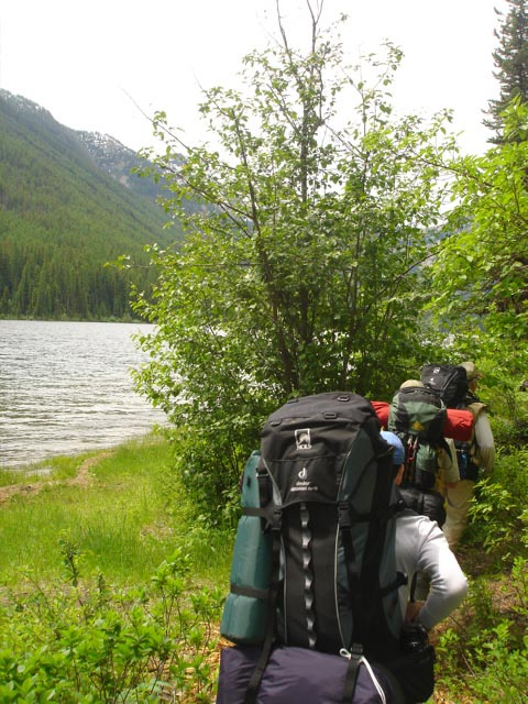 A line of backpackers, traversing a narrow trail through the brush along the shore of a large lake.