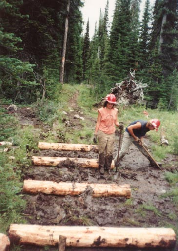 Two workers setting large chunks of log in a swampy section of forest trail.